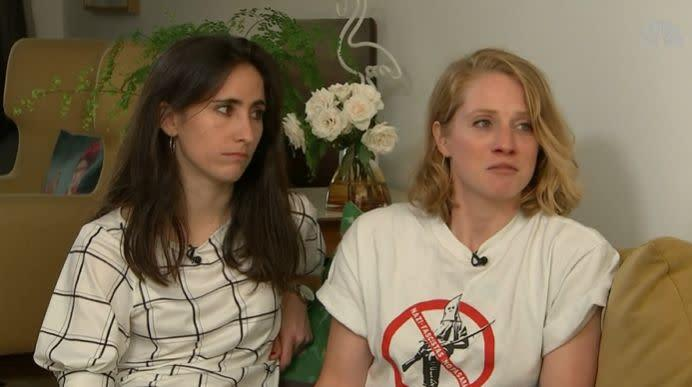 Melania Geymonat, left, has recalled the suspects saying homophobic remarks to her and her date, right, during the attack. (Photo: Channel 4 News)