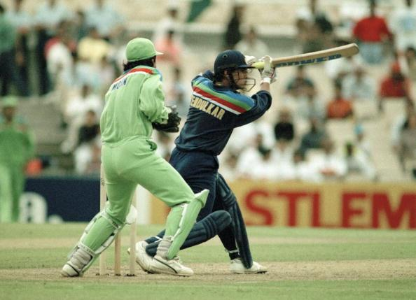 Sachin Tendulkar batting for India during the World Cup match between Pakistan and India at the Sydney Cricket Ground, 4th March 1992. The Pakistan wicketkeeper is Moin Khan. Tendulkar scored 54 not out and India won by 43 runs. (Photo by David Munden/Popperfoto/Getty Images)