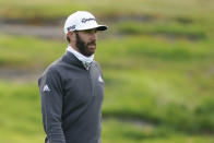 Dustin Johnson walks the 10th fairway during practice for the U.S. Open Championship golf tournament at Winged Foot Golf Club, Tuesday, Sept. 15, 2020, in Mamaroneck, N.Y. (AP Photo/John Minchillo)