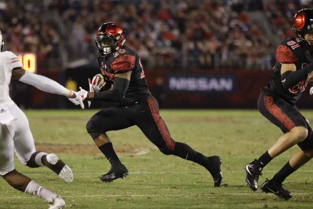 Rashaad Penny has helped lead San Diego State to a perfect 5-0 start. (AP)