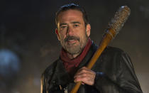 """<p>It was the most anticipated character arrival from <em>The Walking Dead</em> comic books, and the villainous Negan's introduction to Rick Grimes and his group didn't disappoint. Well … that might be the wrong word. Fans certainly were disappointed by the crushing murder of favorites Glenn and Abraham, but it's fair to say the cruel """"eeny, meeny, miny, moe"""" way Negan toyed with Rick's group before the deaths, with some dialogue taken verbatim from the comics, definitely didn't underwhelm. —<em>KP</em><br>(Photo: Gene Page/AMC) </p>"""