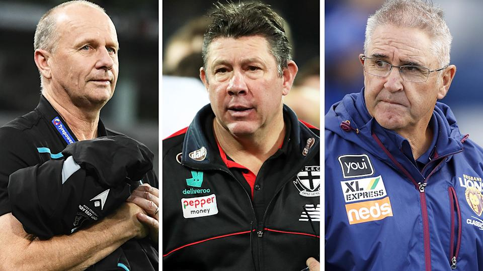 AFL coaches Ken Hinkley, Brett Ratten and Chris Fagan have all called for the AFL to consider shortening quarters amid a spate of injuries across the league. Pictures: Getty Images