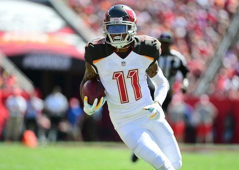 <span>DeSean Jackson is a happier man with Fitzmagic back in the team</span> <span>Credit: Julio Aguilar/Getty Images </span>