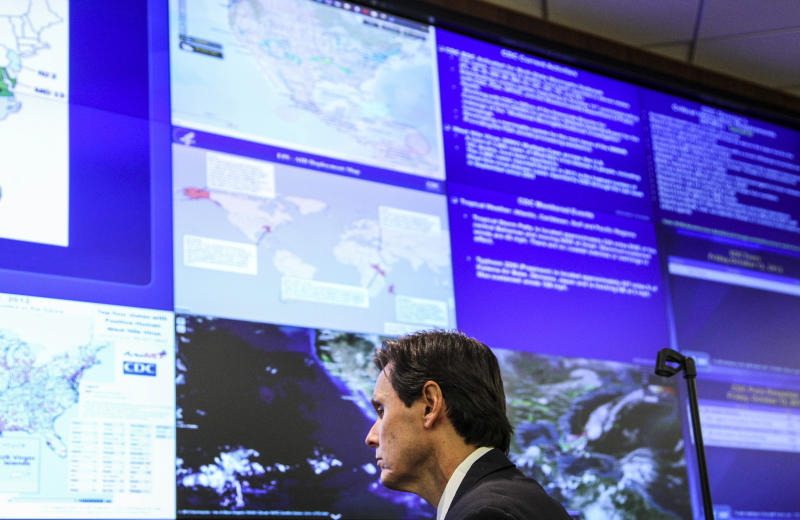 Dr. John Jernigan, the medical epidemiologist who is leading the investigative team, is seen during an interview at the Emergency Operations Center at the Centers for Disease Control and Prevention on Oct. 12, 2012 in Atlanta. The staff and technicians have been working around the clock to confirm cases and inform the public regarding the multi-state meningitis outbreak that has resulted in 14 deaths. The fungal outbreak is believed to have started at New England Compounding Center where a steroid injection shipment was contaminated with the fungus. (AP Photo/Pouya Dianat)