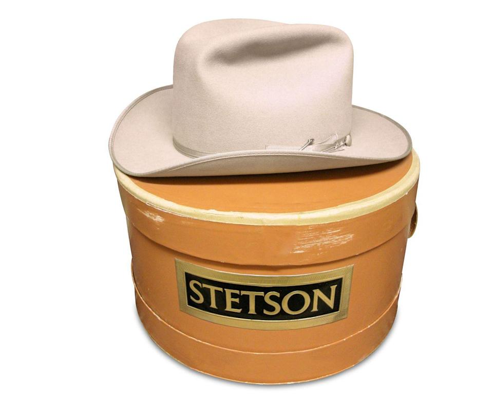 <p>In 1865, John Batterson Stetson created the first cowboy hat. His design's wide brim shaded the neck and eyes, and when turned upside down, the crown could hold water for a horse or rider, says antiques appraiser Helaine Fendelman. This model, with its original box, dates to the 1960s. Despite a few small stains, the famed Stetson name brings a handsome estimate.</p><p><strong>What it's worth: </strong>$100-$1,000</p>