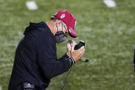 Indiana head coach Tom Allen celebrates in the fourth quarter of an NCAA college football game against Rutgers, Saturday, Oct. 31, 2020, in Piscataway, N.J. (AP Photo/Corey Sipkin)