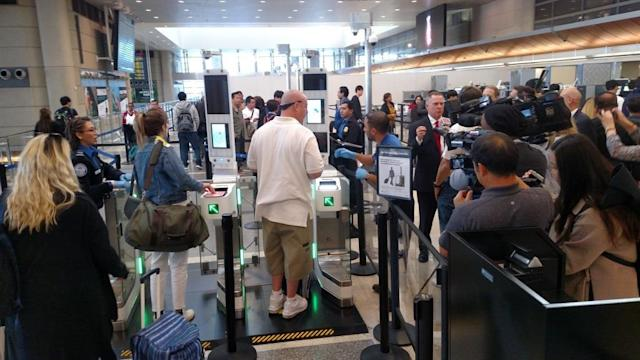 Checkpoints using facial recognition at the International Terminal at LAX. (Los Angeles World Airports)