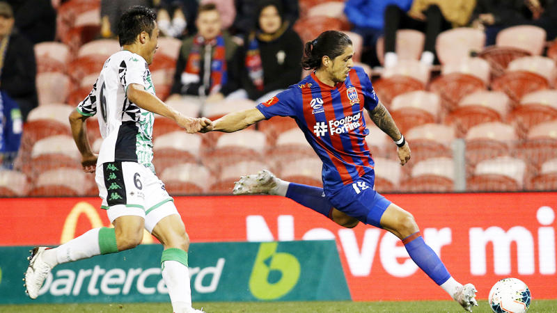 Kosta Petratos, pictured here during the Newcastle Jets' clash with Western United.