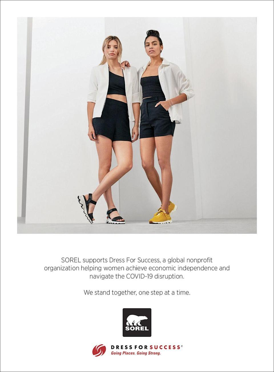 <p>SOREL supports Dress For Success, a global nonprofit organization helping women achieve economic independence and navigate the COVID-19 disruption.</p><p>We stand together, one step at a time.</p>