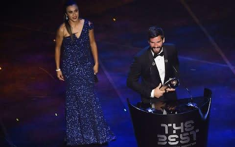 <span>Alisson is the Golden Glove winner and Uefa's reigning goalkeeper of the season</span> <span>Credit: afp </span>