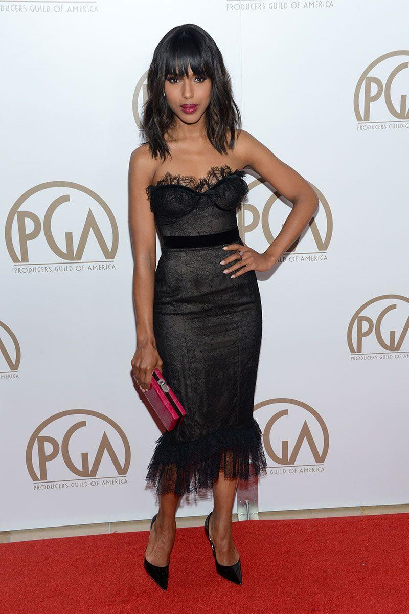 <p>Kerry Washington's outfit at the 24th Annual Producers Guild Awards had a lot going on—from the black dress's sheer lace detailing and ruffled hem to the actress's matching lip and clutch—and it was fabulous.</p>