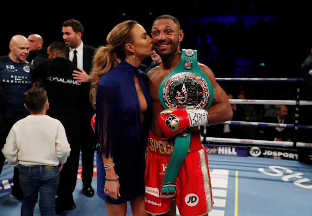 Boxing - Kell Brook vs Sergey Rabchenko - Sheffield, Britain - March 3, 2018 Kell Brook celebrates winning the fight with his partner Lindsey Myers Action Images via Reuters/Andrew Couldridge