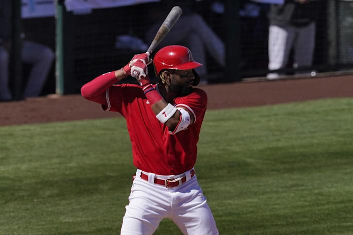 Angels outfielder Jo Adell gets set in the batter's box during a game against the Rockies on March 6.