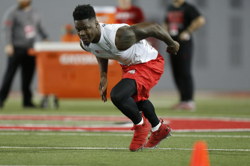 Linebacker Jerome Baker runs a drill during Ohio State's NFL Pro Day Thursday, March 22, 2018, in Columbus, Ohio. (AP Photo/Jay LaPrete