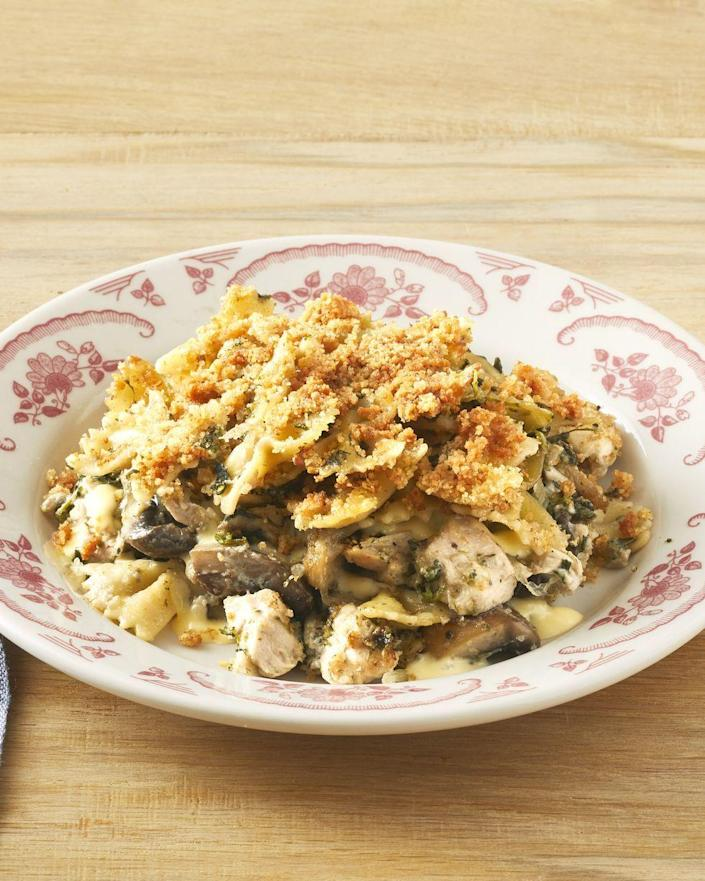 """<p>Need to clear out some fridge space after Thanksgiving? Use your leftover turkey to make this creamy meal. </p><p><strong><a href=""""https://www.thepioneerwoman.com/food-cooking/recipes/a32465226/turkey-tetrazzini-recipe/"""" rel=""""nofollow noopener"""" target=""""_blank"""" data-ylk=""""slk:Get the recipe."""" class=""""link rapid-noclick-resp"""">Get the recipe.</a></strong></p><p><strong><a class=""""link rapid-noclick-resp"""" href=""""https://go.redirectingat.com?id=74968X1596630&url=https%3A%2F%2Fwww.walmart.com%2Fip%2FThe-Pioneer-Woman-Vintage-Floral-5-Piece-Pasta-Bowl-Set%2F55467850%23customer-reviews&sref=https%3A%2F%2Fwww.thepioneerwoman.com%2Ffood-cooking%2Fmeals-menus%2Fg32933285%2Fcomfort-food-recipes%2F"""" rel=""""nofollow noopener"""" target=""""_blank"""" data-ylk=""""slk:SHOP PASTA BOWLS"""">SHOP PASTA BOWLS</a></strong></p>"""