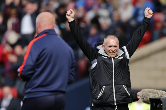 "Football - Falkirk v Inverness Caledonian Thistle - William Hill Scottish FA Cup Final - Hampden Park, Glasgow, Scotland - 30/5/15 Inverness Caledonian Thistle's manager John Hughes celebrates after the match Reuters / Russell Cheyne Livepic EDITORIAL USE ONLY. No use with unauthorized audio, video, data, fixture lists, club/league logos or ""live"" services. Online in-match use limited to 45 images, no video emulation. No use in betting, games or single club/league/player publications. Please contact your account representative for further details."