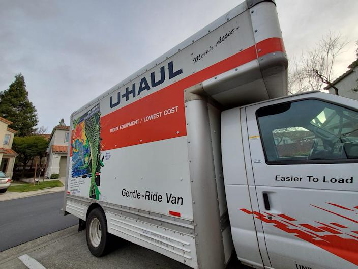 "A U-Haul moving truck parked in a suburban neighborhood in San Ramon, California. <p class=""copyright"">Smith Collection/Gado/Getty Images</p>"