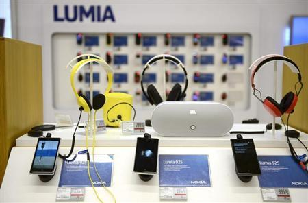 Nokia's Lumia smartphones are seen in a Helsinki mobile phone store