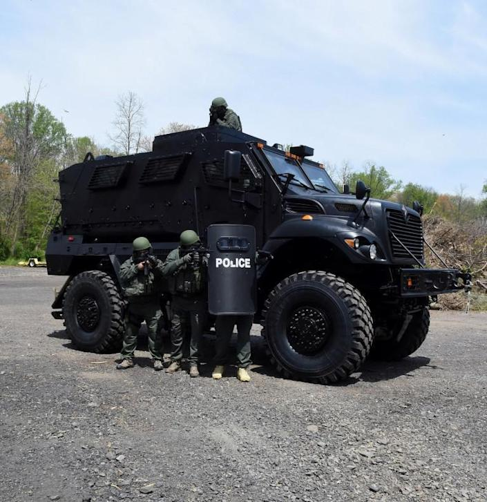 The $865,000 Mine Resistant Ambush Protected (MRAP) vehicle bought in February of 2016 for the the South Central Emergency Response Team, a Bucks County group of officers from departments in 14 municipalities. The federal 1033 program administered through the Defense Logistics Agency provides surplus military equipment for the cost of shipping and other fees to local and state law enforcement agencies.