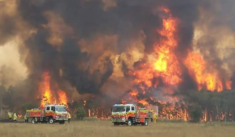 Firefighters who have battled giant blazes for weeks on end will receive much-needed relief from the fires. Pictured are crews fighting fire at Charmhaven on the NSW Central Coast. Source: AAP