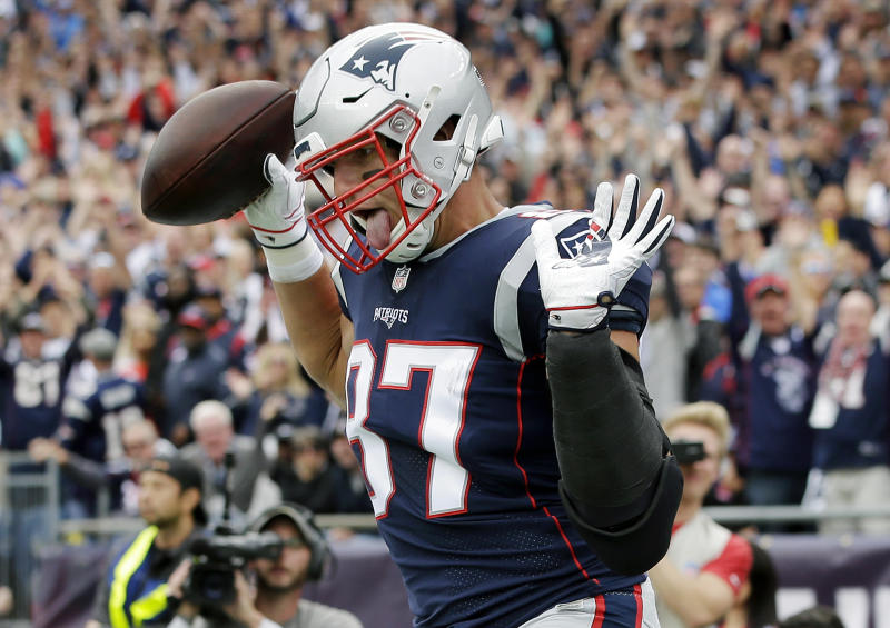 New England Patriots tight end Rob Gronkowski (87) celebrates his touchdown against the Houston Texans during the first half of an NFL football game, Sunday, Sept. 9, 2018, in Foxborough, Mass. (AP Photo/Steven Senne)