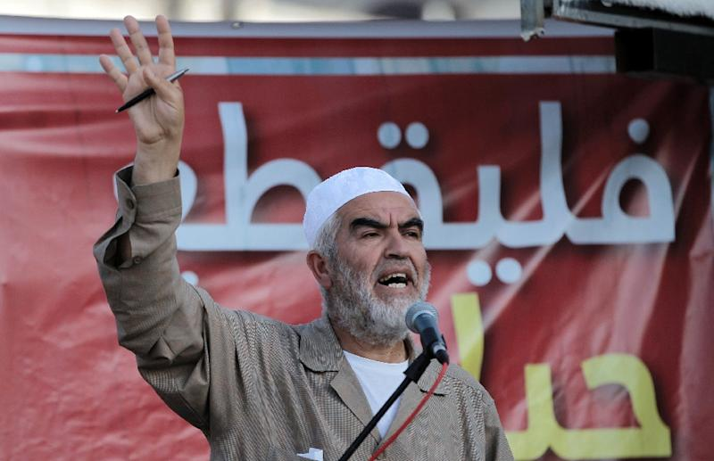 Leader of the radical northern wing of the Islamic Movement in Israel, Sheikh Raed Salah speaks at a demonstration in the town of Kfar Kana, northern Israel, in May 2015