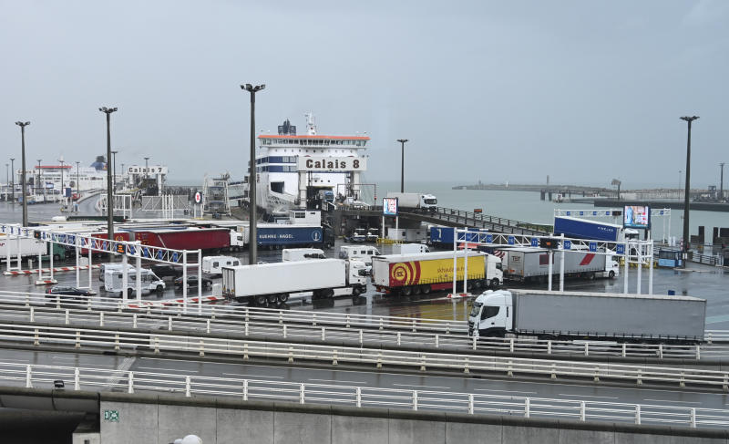 The ferry terminal of Calais, northern France, is pictured during a day of test in case of no-deal Brexit, Tuesday Sept.24, 2019. Britain's Prime Minister Boris Johnson's authority was undermined Tuesday as Britain's Supreme Court ruled unanimously that he had taken unlawful actions by shutting Parliament in a way that squelched legitimate scrutiny of his Brexit plan. (Denis Charlet, Pool via AP)