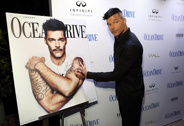 "<p>The Puerto Rico-born singer continued to show the people there love, by raising funds for hurricane relief through his Ricky Martin Foundation, at a Miami soiree celebrating the new cover of <i>Ocean Drive</i> magazine. Martin has made it his mission to raise $10 million, and reportedly has already <a href=""http://www.sun-sentinel.com/features/fl-fea-ricky-martin-ocean-drive-hurricane-relief-20171011-story.html"" rel=""nofollow noopener"" target=""_blank"" data-ylk=""slk:brought in $3 million"" class=""link rapid-noclick-resp"">brought in $3 million</a>. (Photo: Aaron Davidson/Getty Images) </p>"