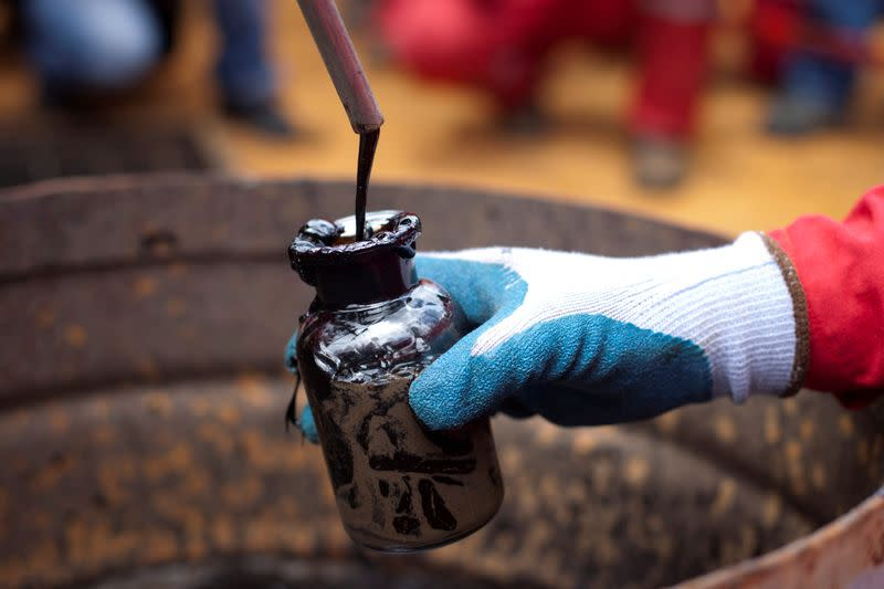 FILE PHOTO: A worker collects a crude oil sample at an oil well operated by Venezuela's state oil company PDVSA in Morichal