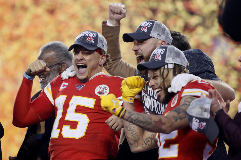 Kansas City Chiefs QB Patrick Mahomes has overtaken Tom Brady in NFLPA-licensed merchandise sales. (AP/Charlie Neibergall)