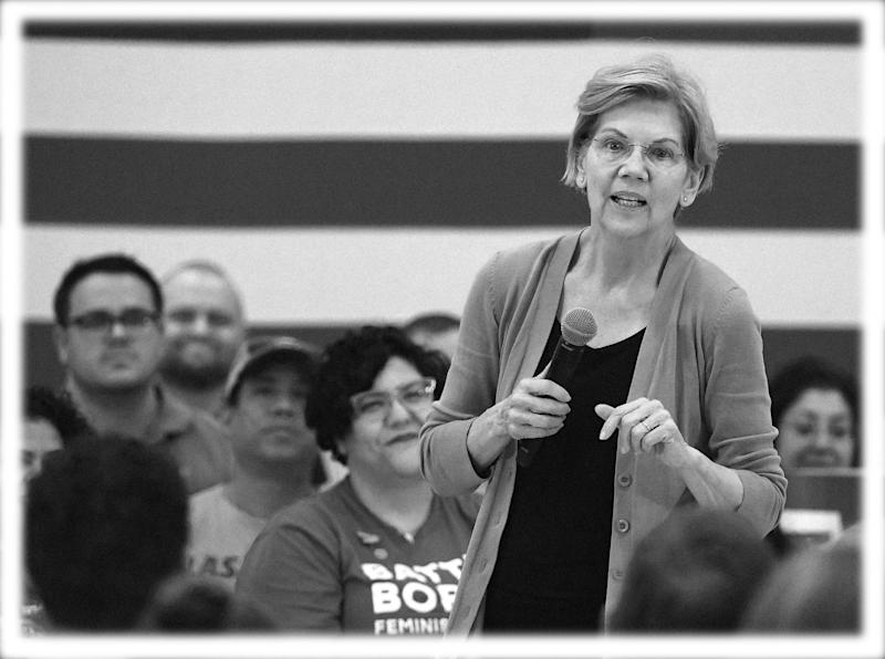 Sen. Elizabeth Warren, D-Mass., speaks during a community conversation on July 2 in Las Vegas. (Photo: Ethan Miller/Getty Images; digitally enhanced by Yahoo News)