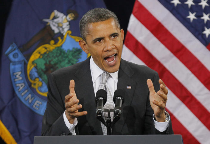 President Obama speaks at a campaign stop at Southern Maine Community College, Friday, March 30, 2012, in South Portland, Maine. (AP Photo/Robert F. Bukaty)