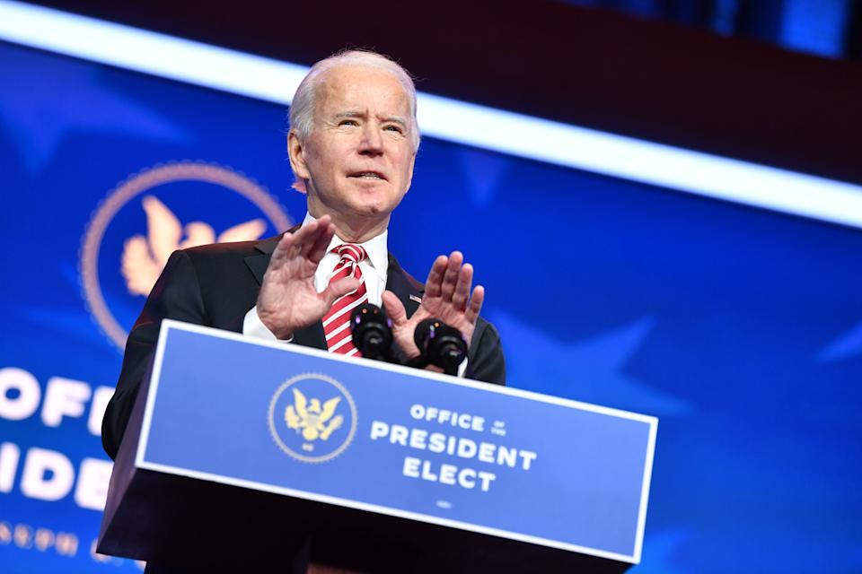 US President-Elect Joe Biden speaks while introducing his nomination for Education Secretary,Dr. Miguel Cardona, at The Queen in Wilmington, Delaware, on December 23, 2020. (Photo by Nicholas Kamm / AFP) (Photo by NICHOLAS KAMM/AFP via Getty Images)