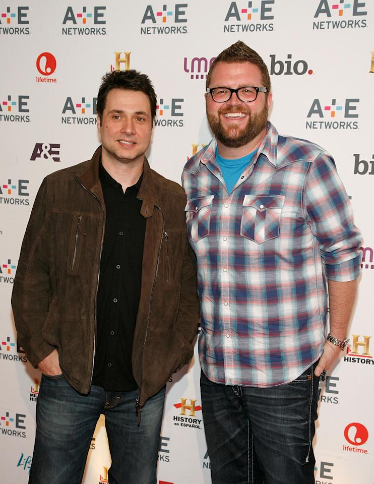 "Adam Ferrara and Rutledge Wood (History's ""Top Gear"") attend the A&E Networks 2012 Upfront at Lincoln Center on May 9, 2012 in New York City."