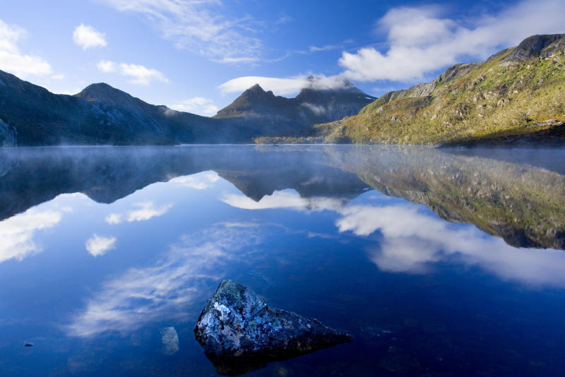 Dove Lake in front of massive Cradle Mountain in Tasmania as the state shuts out Australians. Source: AAP
