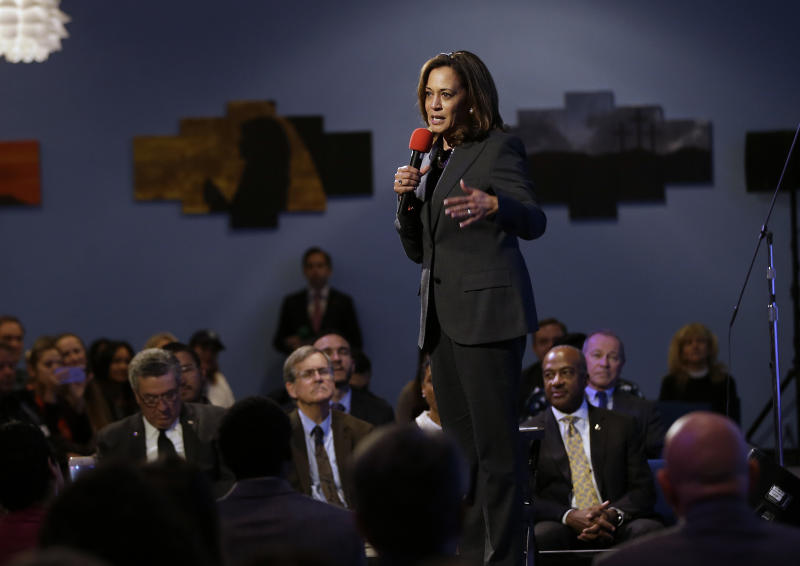 FILE - In this Thursday, April 5, 2018 file photo, Sen. Kamala Harris, D-Calif., speaks at a a town hall meeting in Sacramento, Calif., where she discussed the shooting death of Stephon Clark by two police officers. On Friday, April 19, 2019, The Associated Press has found that stories circulating on the internet that Harris introduced a bill to forbid a police officer from drawing a gun without permission from their supervisor, are untrue. (AP Photo/Rich Pedroncelli)