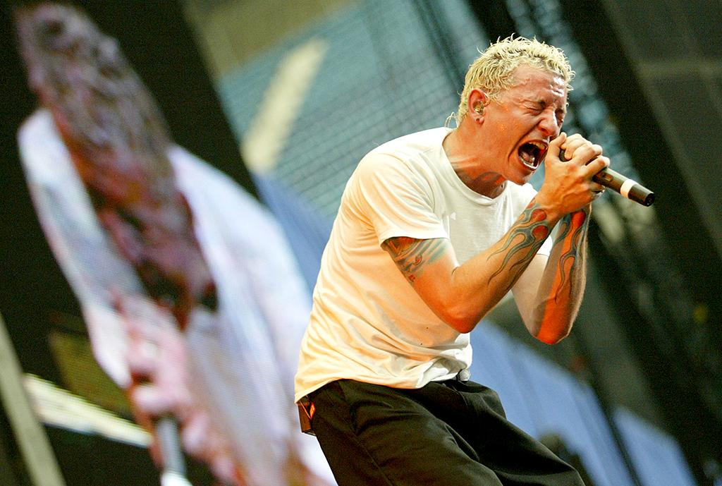 <p>Chester Bennington of Linkin Park during Summer Sanitarium 2003 Tour Opener in Detroit at Pontiac Silverdome in Detroit, Michigan, United States. (Photo: J. Shearer/WireImage) </p>