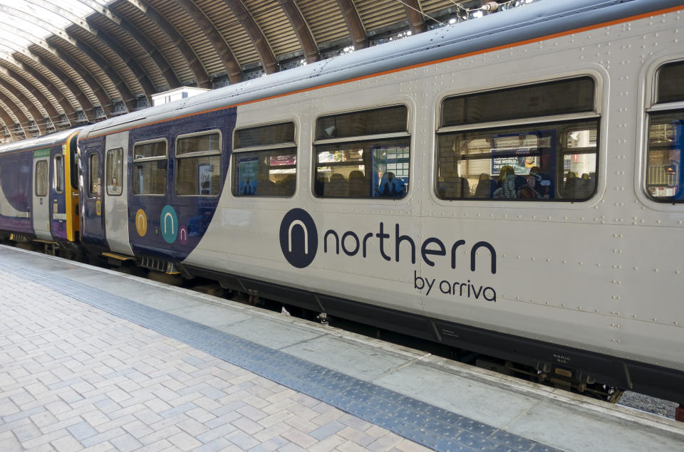 Northern train waiting at the station. (Photo by: Nigel Kirby/Loop Images/Universal Images Group via Getty Images)