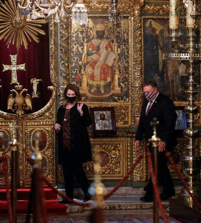 US Secretary of State Mike Pompeo and his wife Susan Pompeo visit The Patriarchal Church of St. George in Istanbul, where he did not meet Turkish officials, on November 17, 2020
