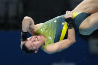 Melissa Wu of Australia competes in women's diving 10m platform final at the Tokyo Aquatics Centre at the 2020 Summer Olympics, Thursday, Aug. 5, 2021, in Tokyo, Japan. (AP Photo/Dmitri Lovetsky)