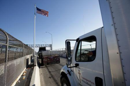 Trucks wait in the queue for border customs control to cross into U.S. at the Bridge of Americas in Ciudad Juarez