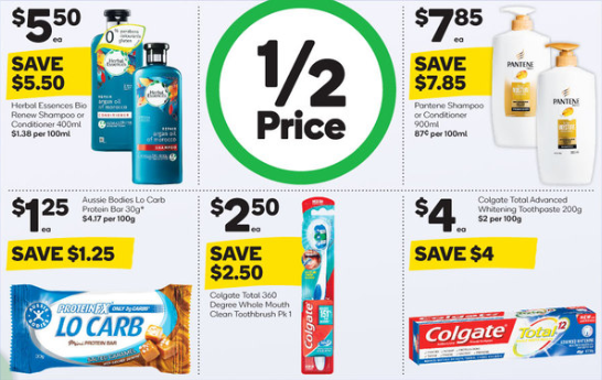 Dental care and haircare products selling for half-price at Woolworths.