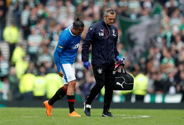 Soccer Football - Scottish Cup Semi Final - Celtic vs Rangers - Hampden Park, Glasgow, Britain - April 15, 2018 Rangers' Bruno Alves after sustaining an injury REUTERS/Russell Cheyne