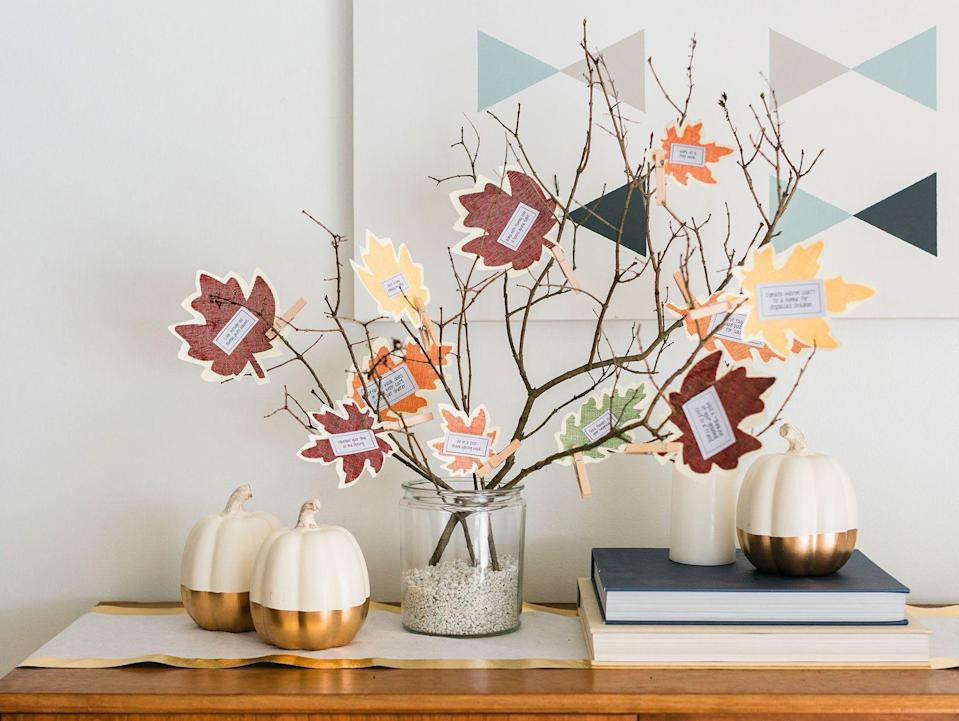 "<p>Thanksgiving is just around the corner, which means that it's time to deck out your home with festive holiday decor! When it comes to the best <a href=""https://www.goodhousekeeping.com/holidays/thanksgiving-ideas/g22688007/thanksgiving-decorations/"" rel=""nofollow noopener"" target=""_blank"" data-ylk=""slk:Thanksgiving decorations"" class=""link rapid-noclick-resp"">Thanksgiving decorations</a>, there's nothing like a thankful tree to truly capture the spirit of the season. Thankful trees, or gratitude trees, are a great <a href=""https://www.goodhousekeeping.com/holidays/thanksgiving-ideas/g28635093/unique-thanksgiving-traditions/"" rel=""nofollow noopener"" target=""_blank"" data-ylk=""slk:Thanksgiving tradition"" class=""link rapid-noclick-resp"">Thanksgiving tradition</a> that involves inviting your guests to write down what they're most thankful for on an ornament, then place it on the tree as part of an interactive seasonal display. Not only do these crafts make for a great holiday decor piece, it's also a wonderful way to give thanks for the season.</p><p>Luckily, if you're looking for ways to DIY your own Thanksgiving tree, we've rounded up all the best ideas here, from printable posters you can hang on the wall to festive mini-trees you can easily make with a few branches and some craft supplies. Whether you're looking for an elegant seasonal display or something you can easily craft with the kids, these creative DIY thankful trees make for great <a href=""https://www.goodhousekeeping.com/home/decorating-ideas/g30445806/diy-wall-decor-ideas/"" rel=""nofollow noopener"" target=""_blank"" data-ylk=""slk:wall decor ideas"" class=""link rapid-noclick-resp"">wall decor ideas</a>, <a href=""https://www.goodhousekeeping.com/home/decorating-ideas/g33418751/fall-mantel-decor-ideas/"" rel=""nofollow noopener"" target=""_blank"" data-ylk=""slk:fall mantel decorations,"" class=""link rapid-noclick-resp"">fall mantel decorations,</a> or even beautiful <a href=""https://www.goodhousekeeping.com/holidays/thanksgiving-ideas/g1681/thanksgiving-centerpieces-easy-elegant/"" rel=""nofollow noopener"" target=""_blank"" data-ylk=""slk:Thanksgiving centerpieces"" class=""link rapid-noclick-resp"">Thanksgiving centerpieces</a> for your table — and will definitely have you and the entire family giving thanks for the best holiday tradition yet! </p>"