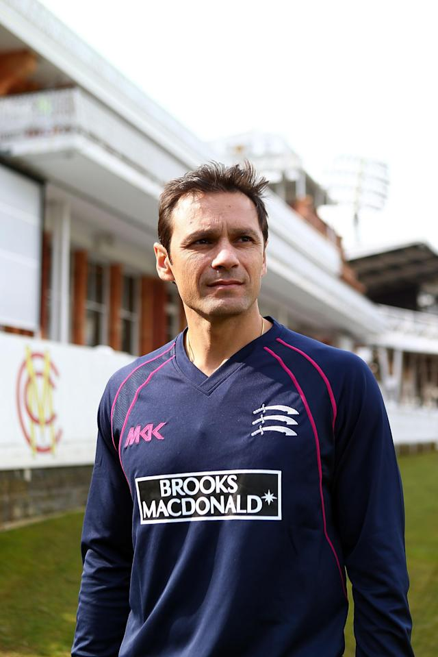LONDON, ENGLAND - APRIL 08: Mark Ramprakash of Middlesex poses in front of the members pavilion prior to starting his first season as batting coach for Middlesex during the Middlesex CCC photocall at Lords on April 8, 2013 in London, England. (Photo by Clive Rose/Getty Images)
