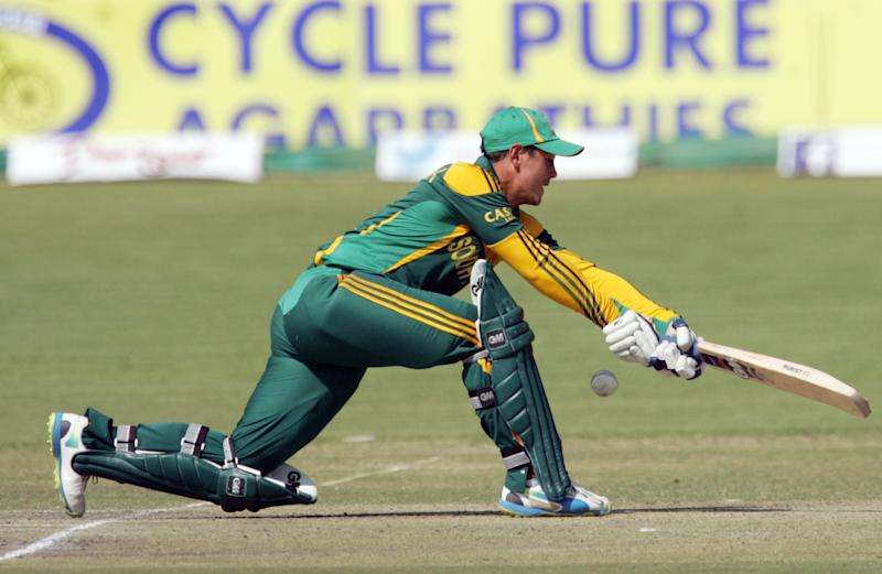 South Africa batsman Quinton de Kock in action during the third and final match of the one-day international (ODI) series against Zimbabwe at the Queens Sports Club in Bulawayo, on August 21, 2014