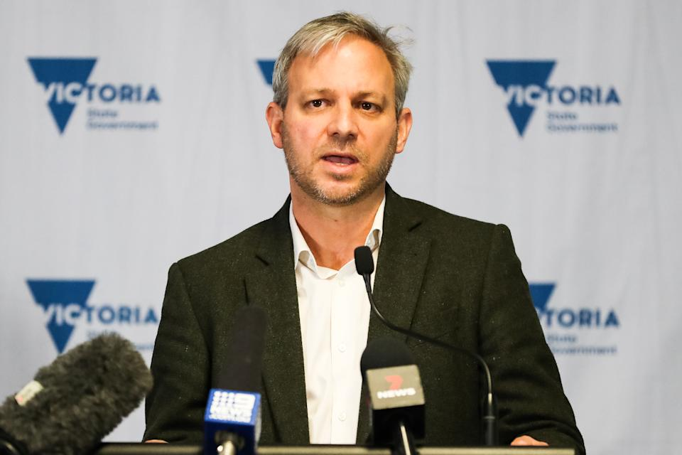 Victoria's Chief Health Officer Professor Brett Sutton speaks during a press conference on June 05, 2021 in Melbourne, Australia. Lockdown restrictions have been extended across Melbourne as new COVID-19 cases continue to emerge linked to a current community cluster. Residents can only leave home for five reasons: care and caregiving, exercise, work and to buy groceries, or to get vaccinated, but can now travel within a 10km radius from home. (Photo by Asanka Ratnayake/Getty Images)