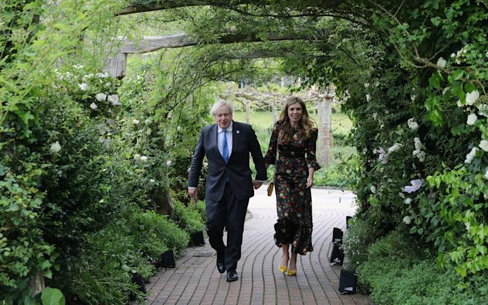 Prime Minister Boris Johnson and his wife Carrie Johnson arrive at the Eden Project for the G7 reception on June 11 2021 - WPA Pool/Getty Images