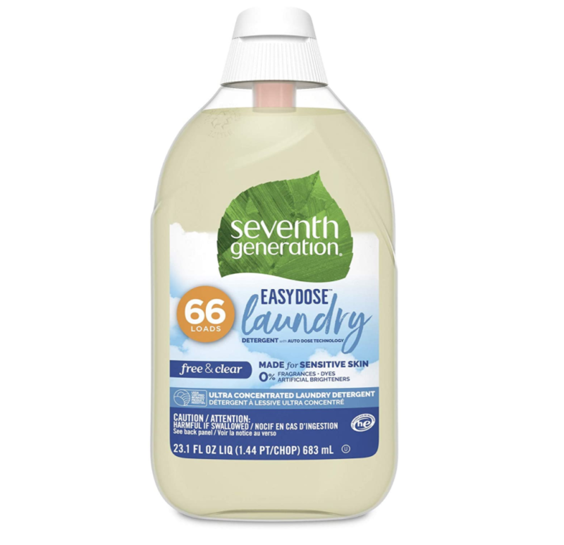 Seventh Generation Liquid Laundry Detergent Easy Dose Technology Free & Clear Unscented. Image via Amazon.