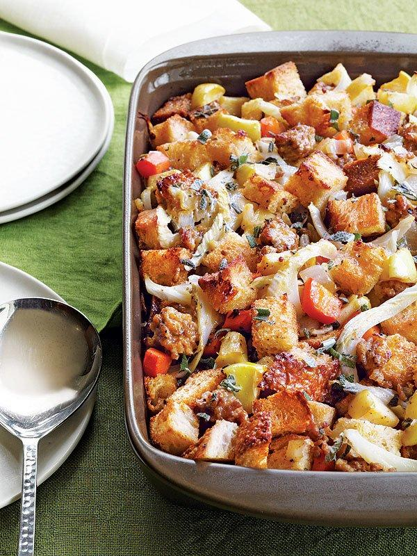 "The chunks of stale sourdough bread soak up the sweet, spicy and and savory flavors in the most glorious way. Get the <a href=""http://greatideas.people.com/2013/11/25/stuffing-sausage-apple-thanksgiving-side-recipe-low-fat-healthy/"">recipe HERE</a>."